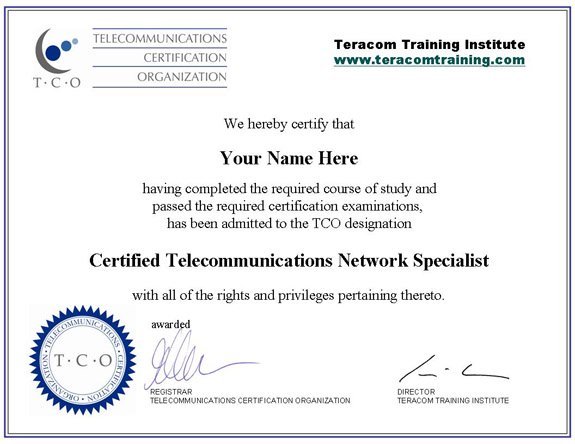 Telecommunications certification Certified new home specialist designation