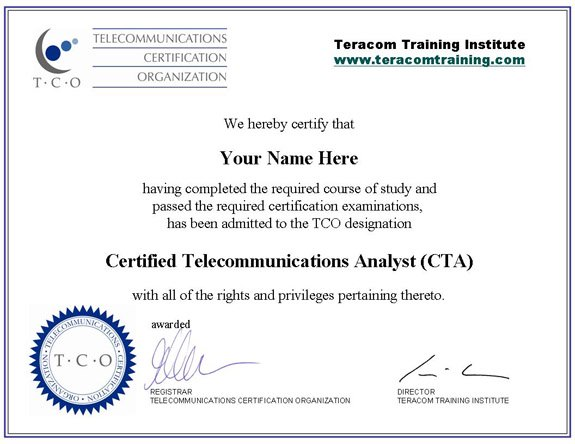 Certified Telecommunications Analyst CTA Certification – Training Certificate Sample