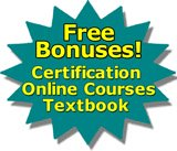 free bonuses - certifications, online courses, textbook